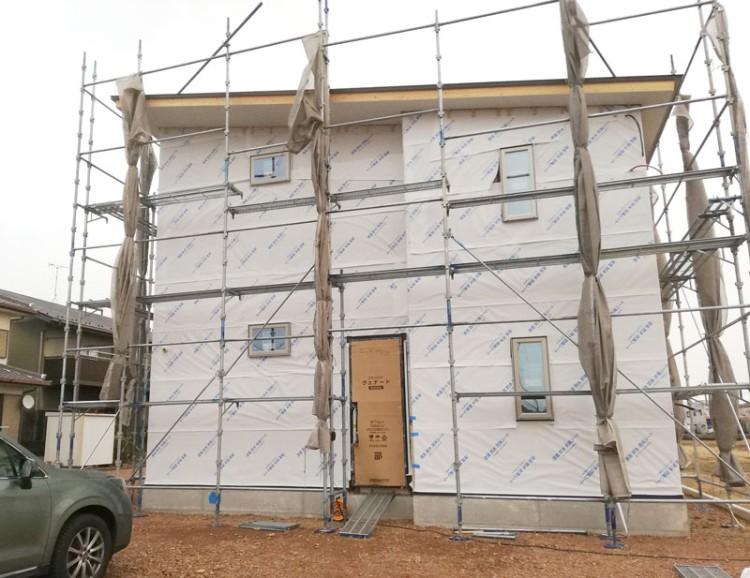 岐阜県関市の新築工事現場の様子
