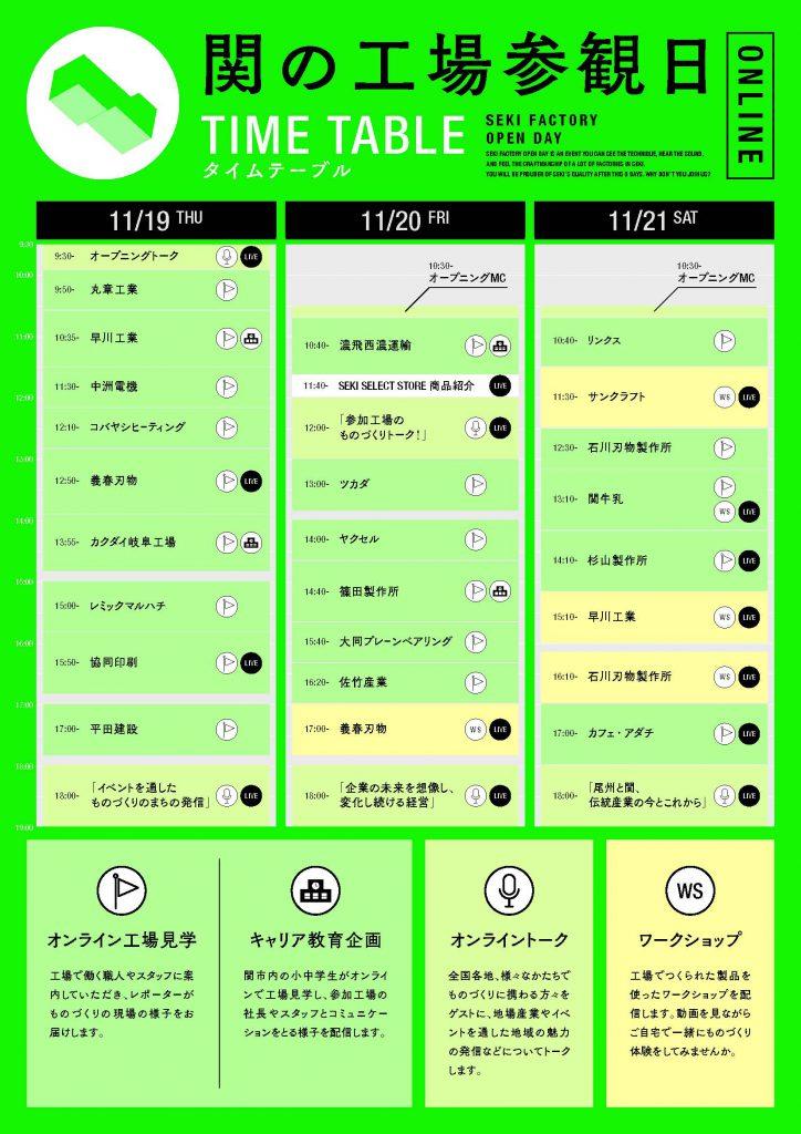 関の工場参観日タイムテーブル